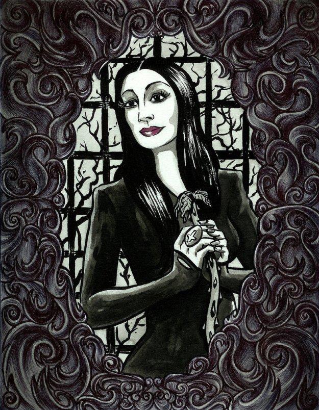 Uma versão acabada da Mortícia: preto para disfarçar os quilinhos a mais, cabelo escorrido e make no capricho, para esconder as olheiras no chão